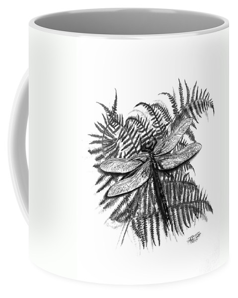 Dragonfly Coffee Mug featuring the drawing Dragonfly by Peter Piatt