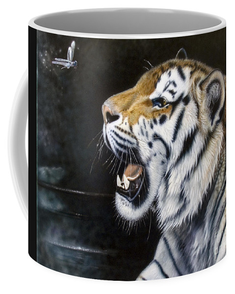 Tiger Coffee Mug featuring the painting Dragonfly by Sandi Baker
