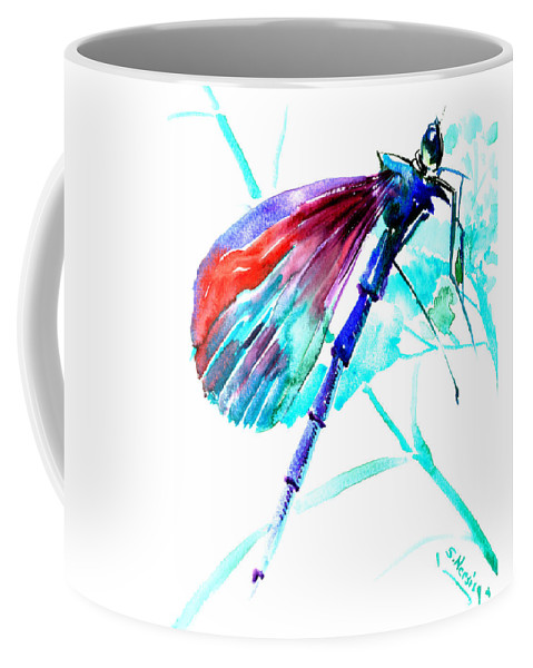 Dragonfly Coffee Mug featuring the painting Dragonfly by Suren Nersisyan