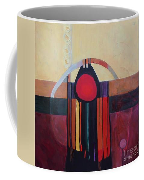 Yellow Coffee Mug featuring the painting Drama Resolved by Marlene Burns