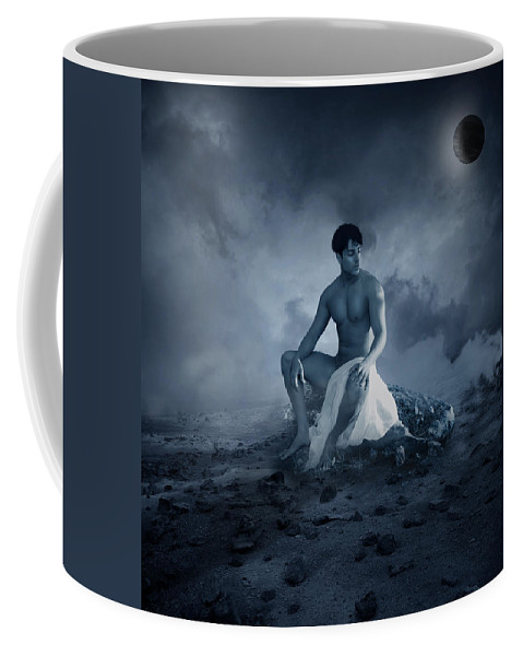 Male Nude Coffee Mug featuring the photograph Dramatic Blue by Mark Ashkenazi