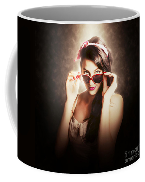 Model Coffee Mug featuring the photograph Dramatic Pin Up Fashion Photograph by Jorgo Photography - Wall Art Gallery