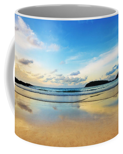 Area Coffee Mug featuring the photograph Dramatic Scene Of Sunset On The Beach by Setsiri Silapasuwanchai