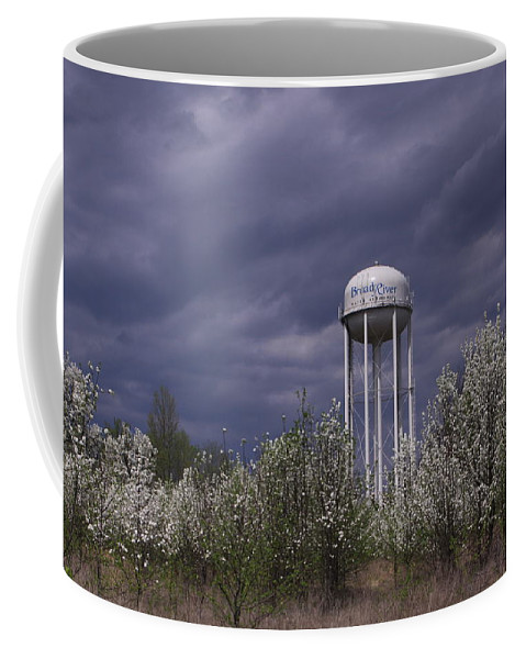 Water Tower Coffee Mug featuring the photograph Dramatic Sky by Karen Ruhl