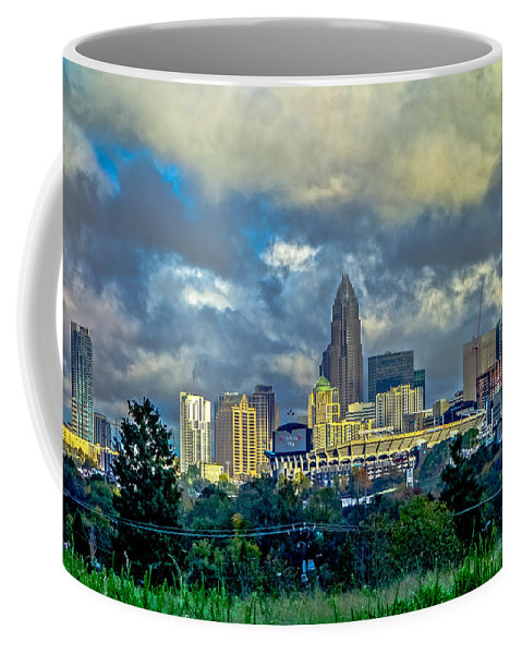 Dramatic Coffee Mug featuring the photograph Dramatic Sky With Clouds Over Charlotte Skyline by Alex Grichenko