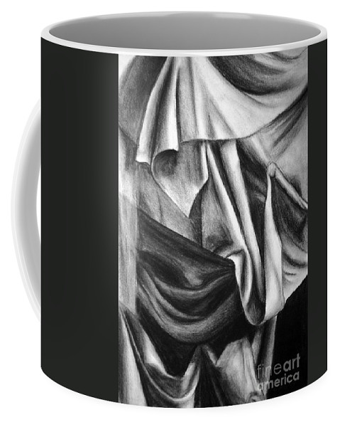 Charcoal Coffee Mug featuring the drawing Drapery Still Life by Nancy Mueller