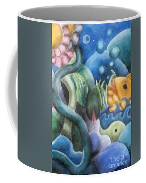 Fish Coffee Mug featuring the pastel Dream Fish by Caroline Peacock