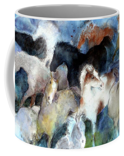 Horses Coffee Mug featuring the painting Dream Of Wild Horses by Christie Michelsen
