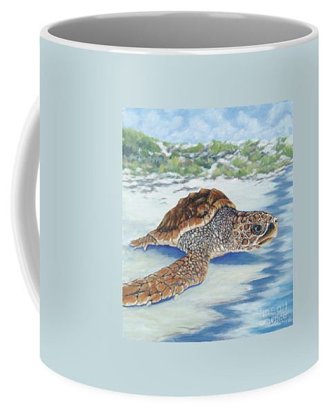 Sea Turtle Coffee Mug featuring the painting Dreaming Of Islands by Danielle Perry