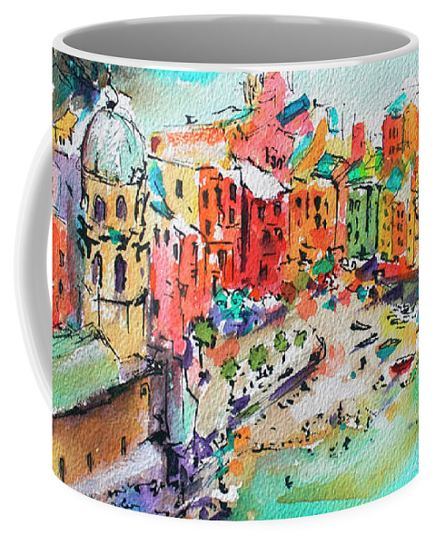 Cinque Terre Coffee Mug featuring the painting Dreaming of Vernazza Cinque Terre Italy by Ginette Callaway