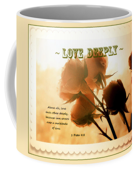 Dreams In Roses Coffee Mug featuring the photograph Dreams In Roses - Vintage - Verse by Anita Faye