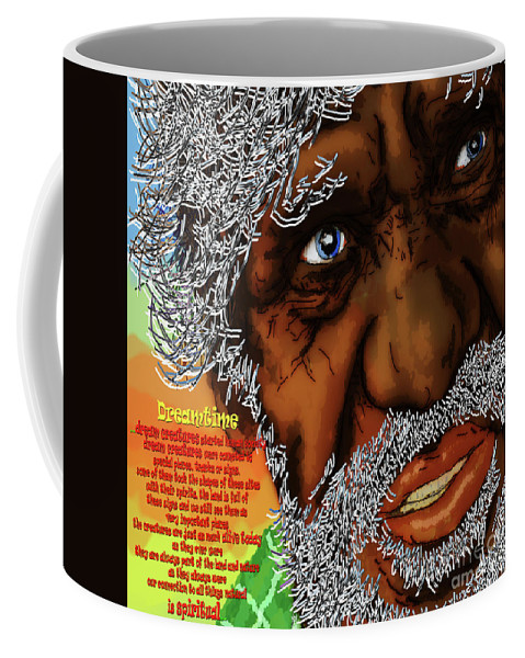 Aborigines Coffee Mug featuring the painting Dreamtime by Neil Finnemore