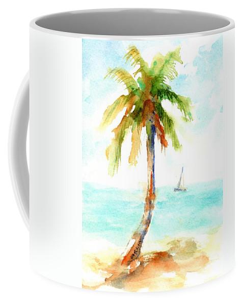 Palm Tree Coffee Mug featuring the painting Dreamy Tropical Beach Palm by Carlin Blahnik CarlinArtWatercolor