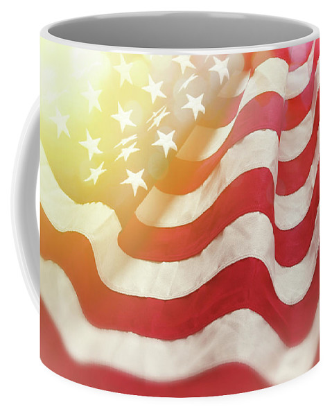 American Flag Coffee Mug featuring the photograph Dreamy Usa Flag 1 by Les Cunliffe
