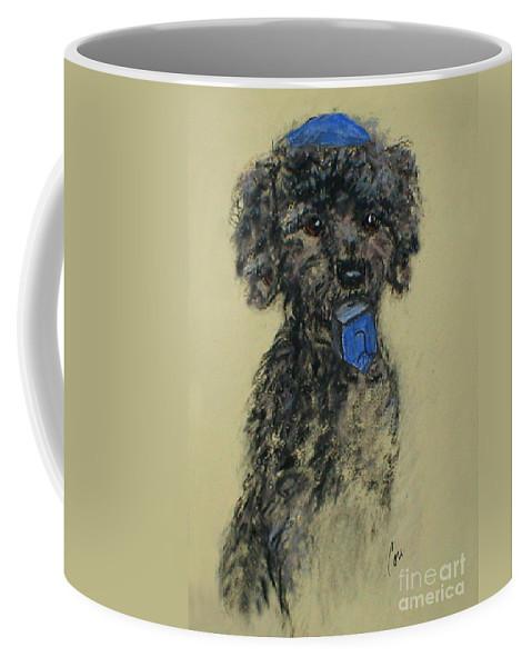 Black Toy Poodle Coffee Mug featuring the drawing Dreidling Fun by Cori Solomon