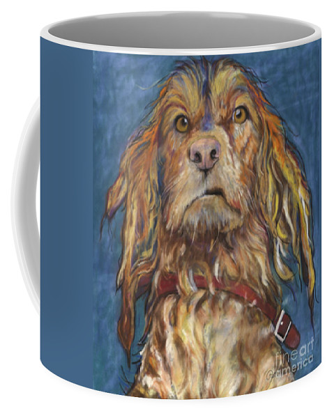 Golden Retriever Painting Coffee Mug featuring the pastel Drenched by Pat Saunders-White