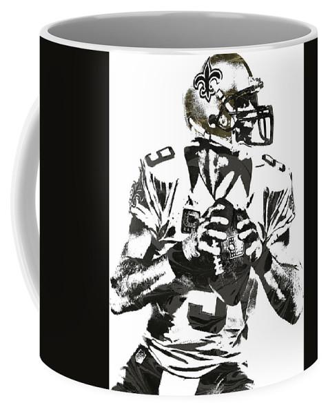 Drew Brees Coffee Mug featuring the mixed media Drew Brees New Orleans Saints Pixel Art 2 by Joe Hamilton