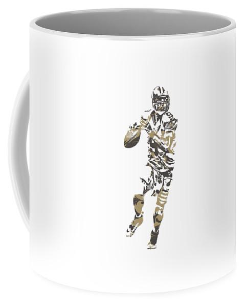 Drew Brees Coffee Mug featuring the mixed media Drew Brees New Orleans Saints Pixel Art T Shirt 1 by Joe Hamilton