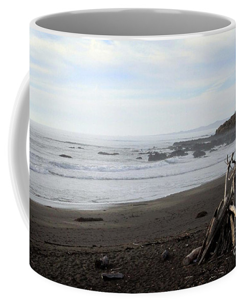 Beach Coffee Mug featuring the mixed media Driftwood And Moonstone Beach by Linda Woods