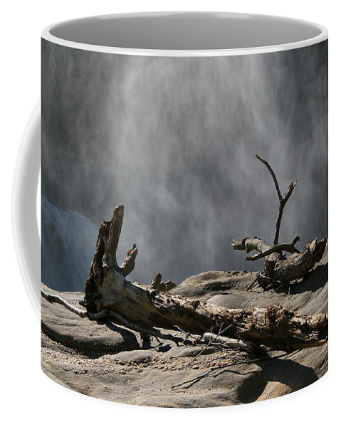 Wood Drift Driftwood Rock Mist Waterfall Nature Sun Sunny Waterful Glow Rock Old Aged Coffee Mug featuring the photograph Driftwood by Andrei Shliakhau