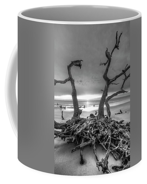 Clouds Coffee Mug featuring the photograph Driftwood Black And White by Debra and Dave Vanderlaan