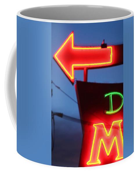 Neon Coffee Mug featuring the photograph Driftwood Motel by Jeffery Ball