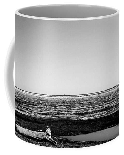 Landscape Coffee Mug featuring the photograph Driftwood On Arctic Beach Balck And White by Anthony Jones