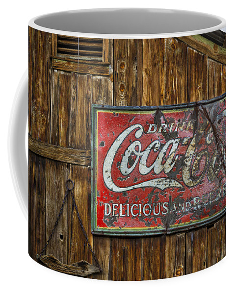 Americana Coffee Mug featuring the photograph Drink Coca Cola Sign by Susan Candelario