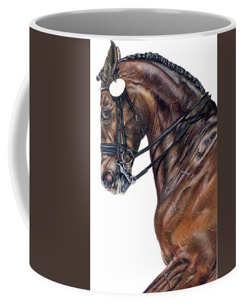 Horse Coffee Mug featuring the drawing Driven by Kristen Wesch