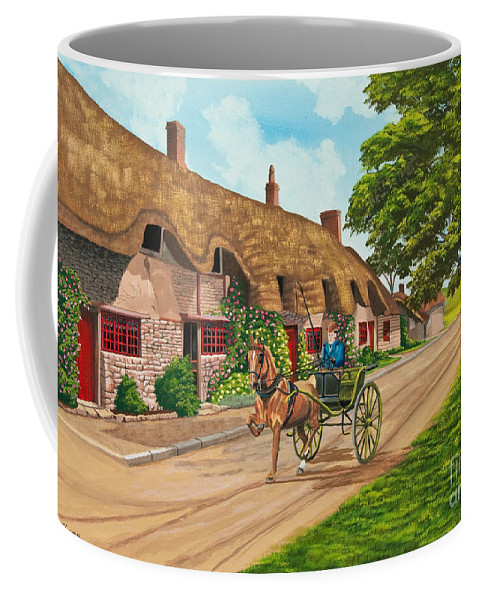 English Painting Coffee Mug featuring the painting Driving A Jaunting Cart by Charlotte Blanchard