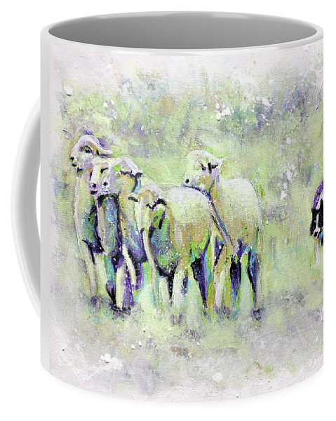 Sheep Coffee Mug featuring the painting Driving Sheep by Steve Gamba