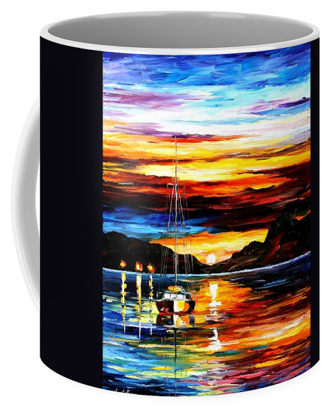Afremov Coffee Mug featuring the painting Drowned Sunset by Leonid Afremov