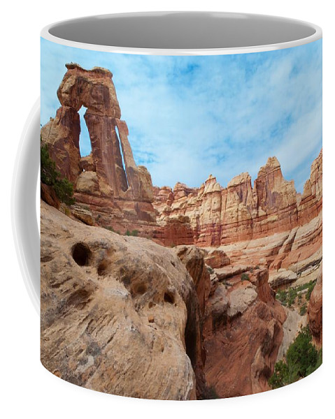Druid Arch Coffee Mug featuring the photograph Druid Arch by Cascade Colors