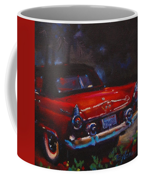 Classic Car Coffee Mug featuring the painting Red Bird by BJ Lane