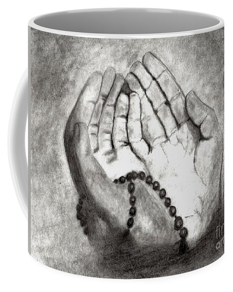 Du'a Coffee Mug featuring the drawing Dua -hands Of Faith No. Six by Dale Arends