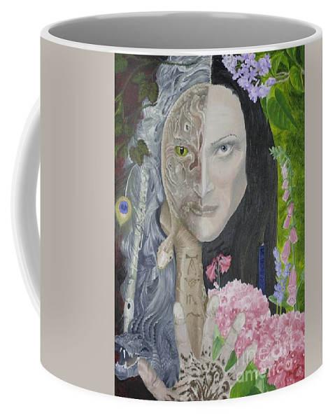 Portrait Dual Personality Flowers Hand Flute Crocodile Snake Boils Coffee Mug featuring the painting Duality Of Nature by Pauline Sharp