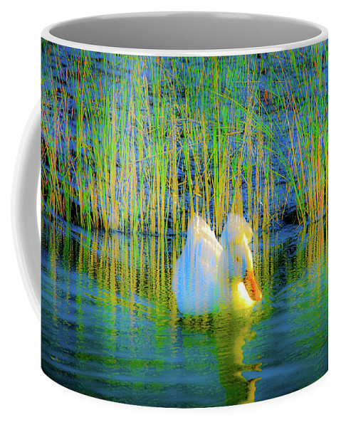 Duck Coffee Mug featuring the photograph Duck On A Mission by Alan C Wade