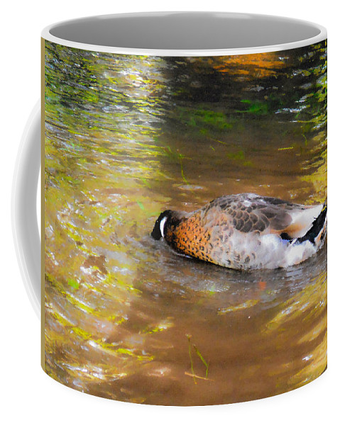Beak Coffee Mug featuring the painting Duck Submerge It Head Into The Water Looking For Food In The River 2 by Jeelan Clark