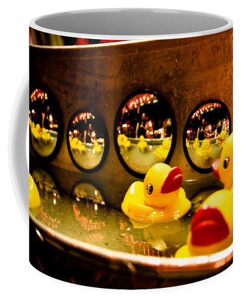 Rubber Ducks Coffee Mug featuring the photograph Ducky Reflections by Toni Hopper