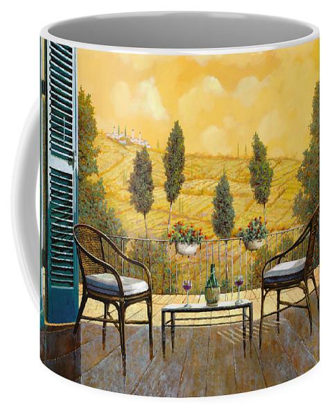 Terrace Coffee Mug featuring the painting due bicchieri di Chianti by Guido Borelli