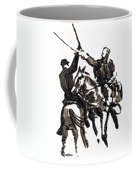 Civil War Coffee Mug featuring the drawing Dueling Sabres by Seth Weaver