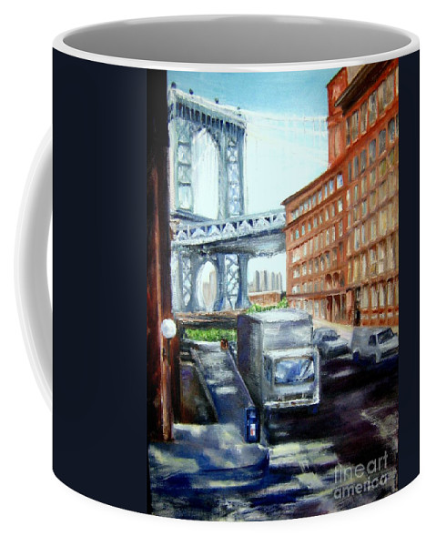 Dumbo Coffee Mug featuring the painting Dumbo Bridge by Sandy Ryan