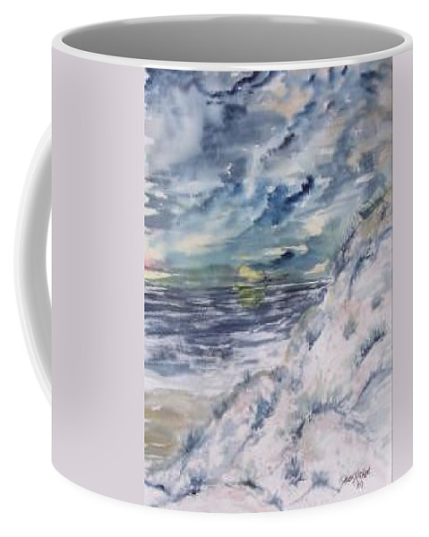 Seascape Coffee Mug featuring the painting Dunes 2 Seascape Painting Poster Print by Derek Mccrea