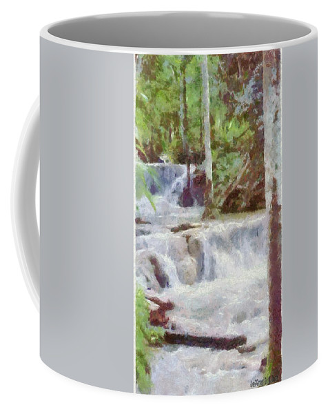 Dunn River Coffee Mug featuring the painting Dunn River Falls by Jeffrey Kolker