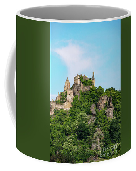Durnstein Austria Castle Ruin Castles Fortress Ruins Fortresses Hillside Hillsides Stone Outcropping Rock Outcroppings Landscape Landscapes Structure Structures Architecture Landmark Landmarks Coffee Mug featuring the photograph Durnstein Castle And Stone Outcroppings by Bob Phillips