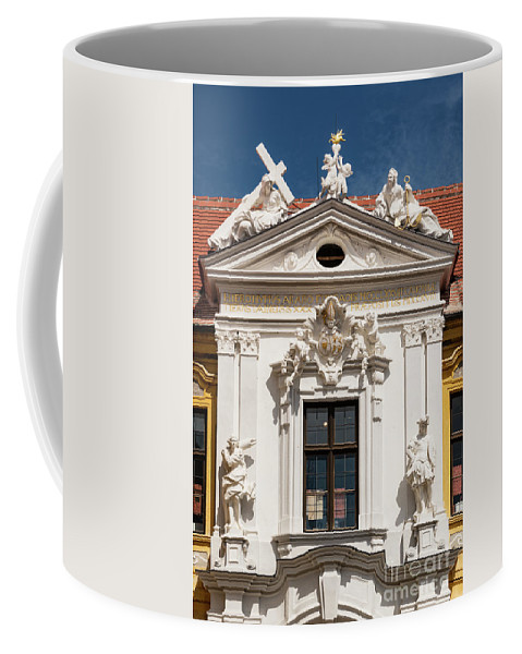 Durnstein Stifskirche Baroque Facade Window Windows Statue Statues Sculpture Sculptures Window Windows Building Buildings Structure Structures Architecture City Cities Cityscape Cityscapes Landmark Landmarks Church Churches Place Of Worship Places Of Worship Cross Crosses Coffee Mug featuring the photograph Durnstein Stifskirche by Bob Phillips