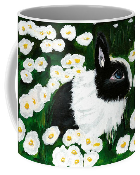 Dutch Bunny Daisies Acrylic Painting Black White Spring Easter Rabbit Impressionism Coffee Mug featuring the painting Dutch Bunny with Daisies by Monica Resinger