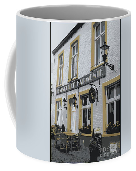 Gray And Yellow Coffee Mug featuring the photograph Dutch Cafe - Digital by Carol Groenen