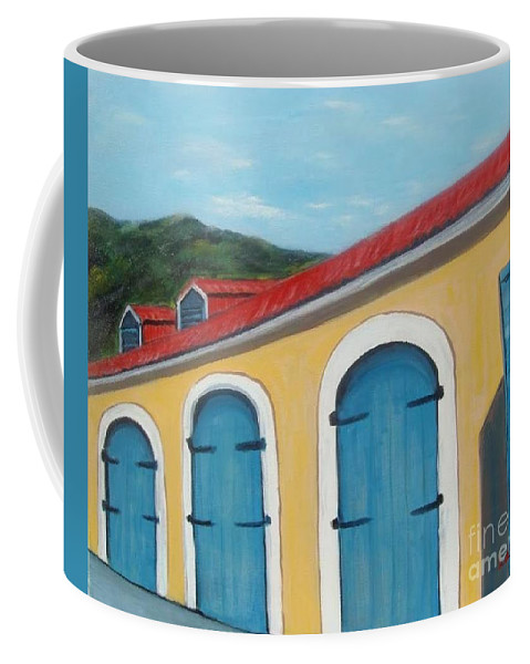 Doors Coffee Mug featuring the painting Dutch Doors Of St. Thomas by Laurie Morgan