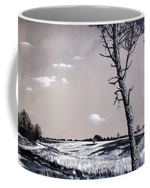 Duotone Coffee Mug featuring the painting Dutch Heathland by Arie Van der Wijst